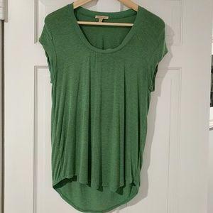 Green cap sleeve shirt with raw edege neckline